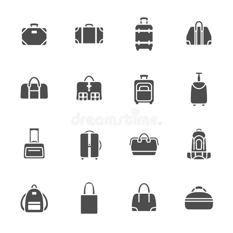 Download Bagagesymbolsuppsättning stock illustrationer. Illustration av pictogram - 37349468