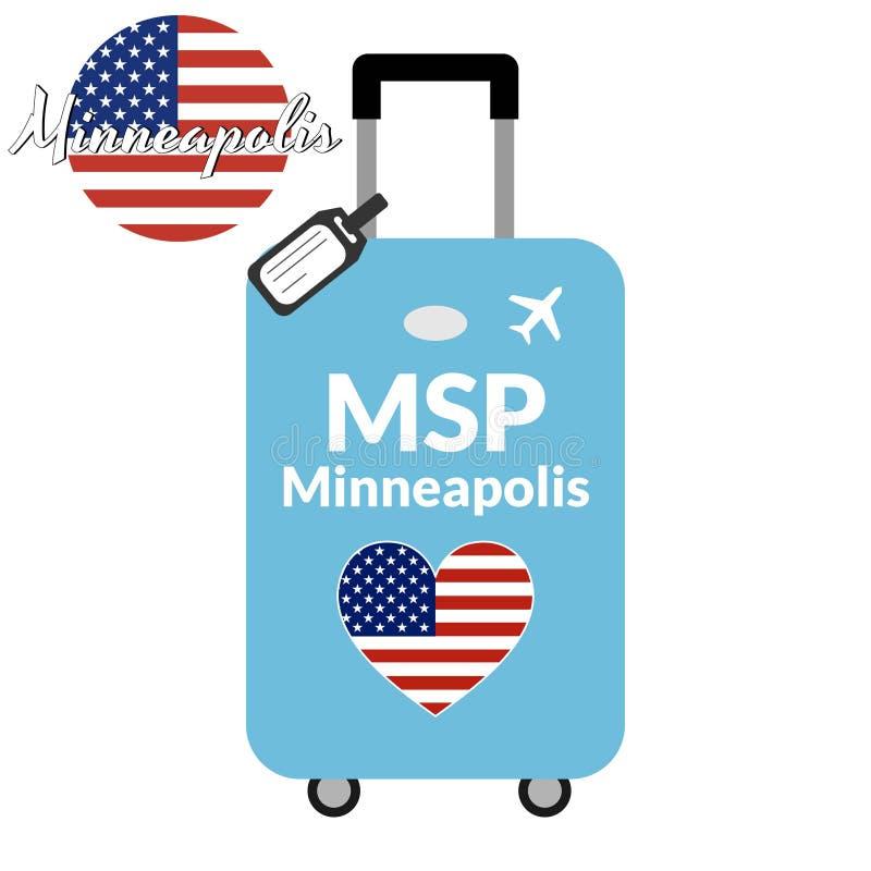 Bagagli con il nome Minneapolis, MSP della città di codice di stazione dell'aeroporto IATA o dell'identificatore e della destinaz illustrazione vettoriale