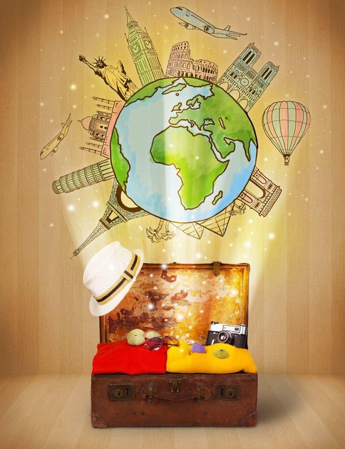 Bagagli Con Il Viaggio Intorno Al Concetto Dell Illustrazione Del Mondo Fotografie Stock Libere da Diritti