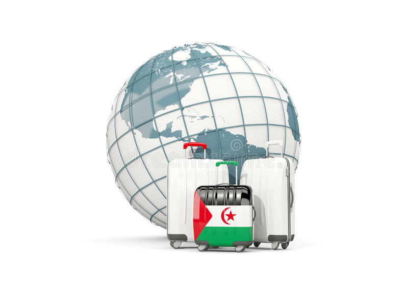 Bagagli con la bandiera del Sahara occidentale Tre borse davanti al globo illustrazione di stock