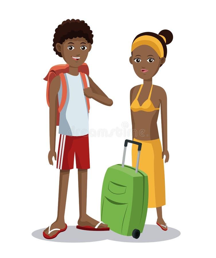 Bagagli turistici di vacanza delle coppie di afro di viaggio royalty illustrazione gratis