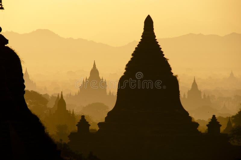 bagan缅甸日出 免版税图库摄影