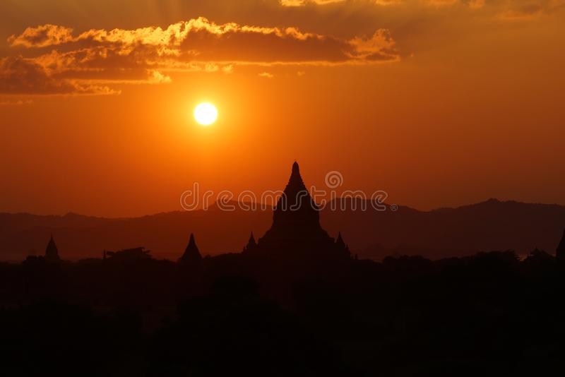 Bagan πριν από το ηλιοβασίλεμα, Βιρμανία, Ασία στοκ εικόνα με δικαίωμα ελεύθερης χρήσης