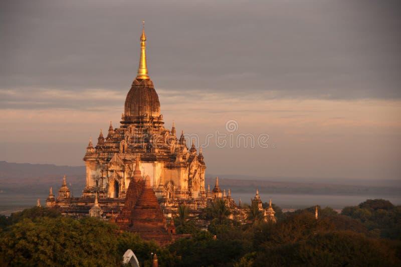 bagan восход солнца myanmar стоковая фотография