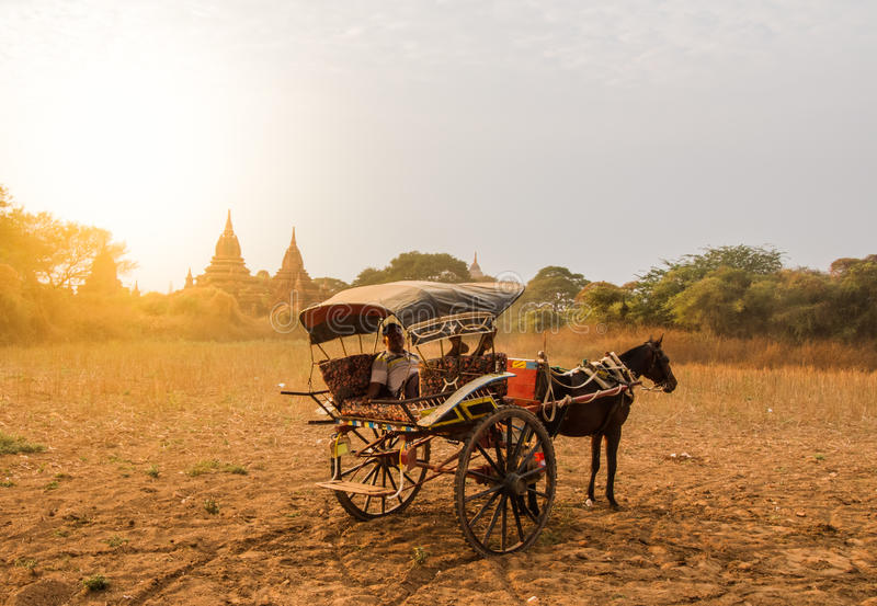 Bagan horse buggy. BAGAN,MYANMAR-MARCH 9: Horses buggy waiting for tourist in front of ancient temple in Bagan,Myanmar on March 9,2017.Horse buggy is famouse royalty free stock image