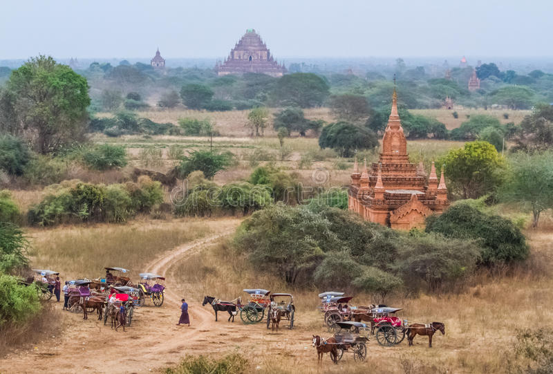 Bagan horse buggy. BAGAN,MYANMAR-MARCH 9: Horses buggy waiting for tourist in front of ancient temple in Bagan,Myanmar on March 9,2017.Horse buggy is famouse stock image