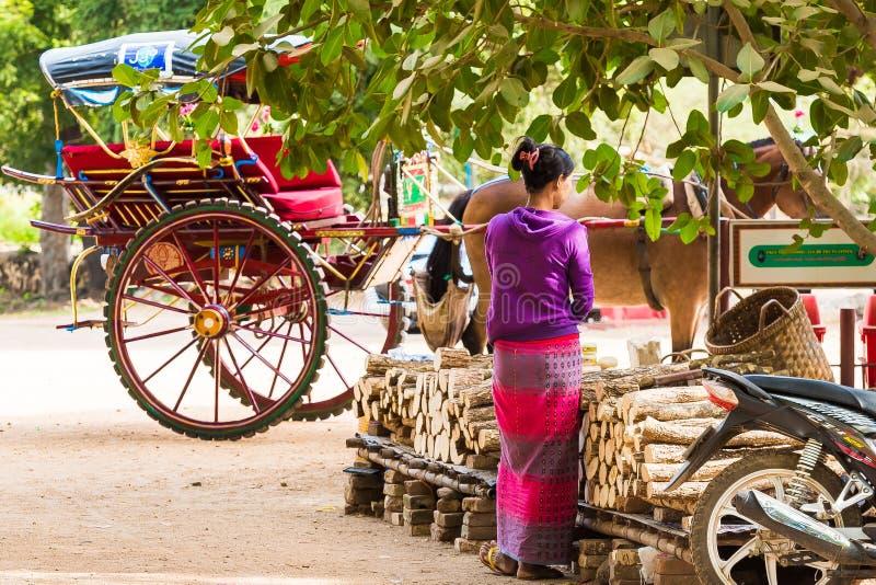 BAGAN, MYANMAR - 1º DE DEZEMBRO DE 2016: O treinador na rua da cidade Copie o espaço para o texto fotografia de stock