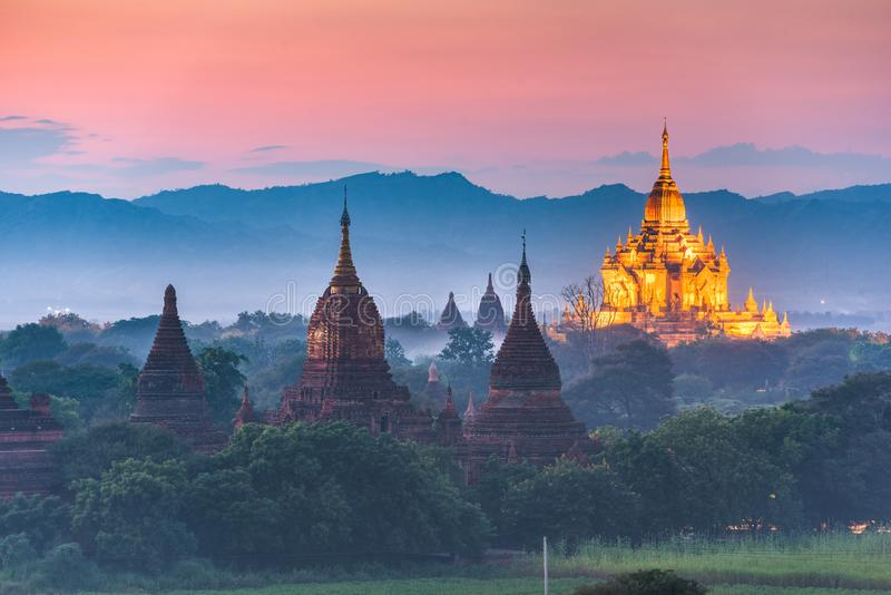 Bagan, Myanmar ancient temple ruins landscape in the archaeological zone royalty free stock images