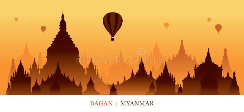Bagan, Myanmar, de Zonsopgangachtergrond van het Oriëntatiepuntensilhouet royalty-vrije illustratie
