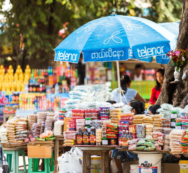 BAGAN, MYANMAR - DECEMBER 1, 2016: Products in the local market. Close-up. stock photos