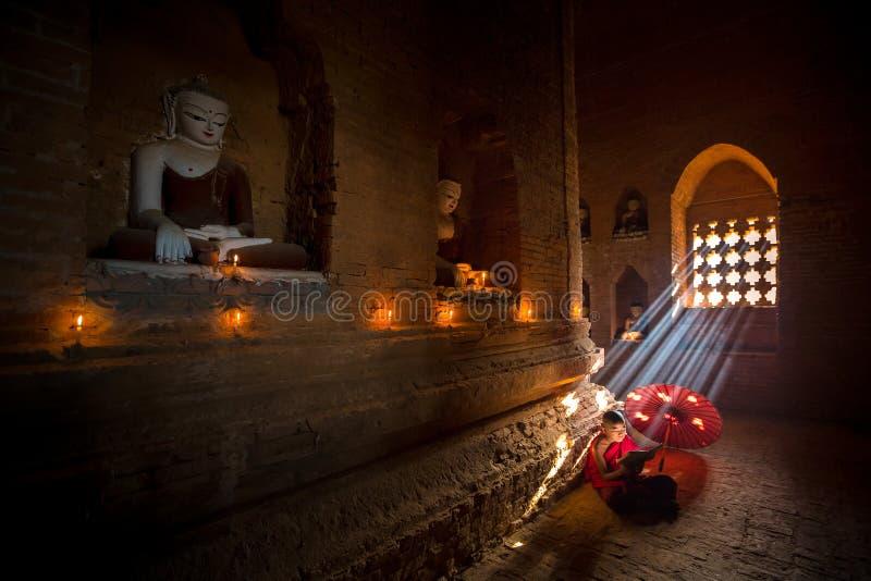 BAGAN, MYANMAR - 18 febbraio, il monaco sta leggendo immagini stock
