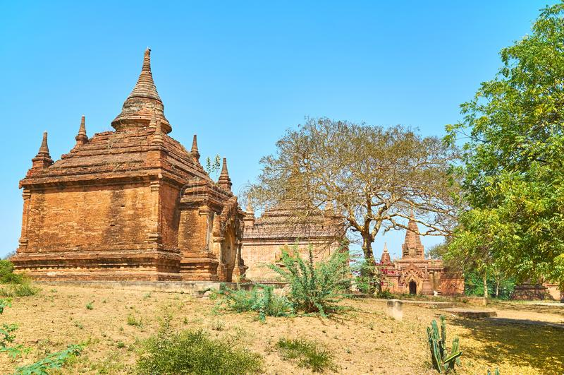 Ancient architecture of Myanmar. Bagan is one of the most interesting archaeological sites with large number of preserved buildings, Myanmar royalty free stock photo