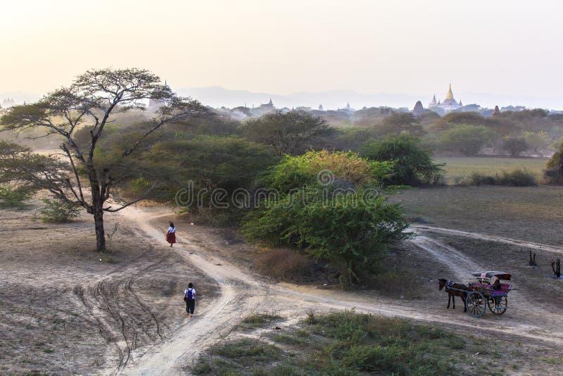 Bagan Sunset impresionante en Myanmar imagen de archivo