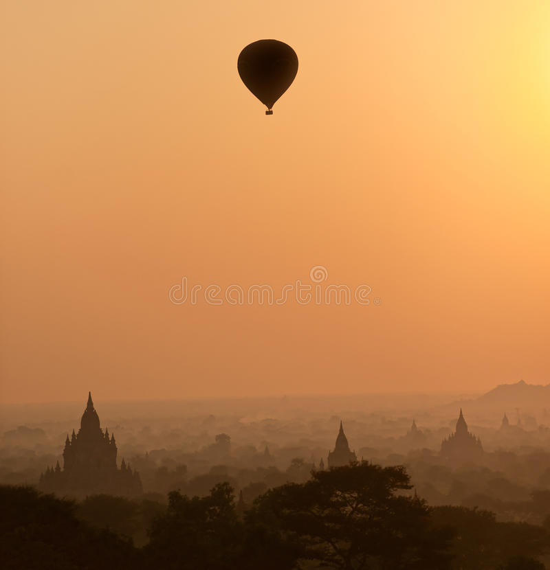 Bagan at Sunset, Myanmar. stock photography