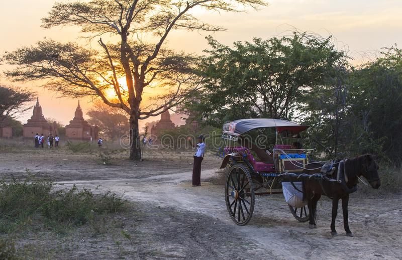 Bagan Sunset stupéfiant dans Myanmar photos libres de droits