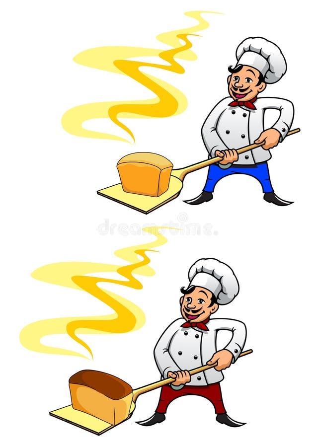 Bagare med en släntra av bröd royaltyfri illustrationer