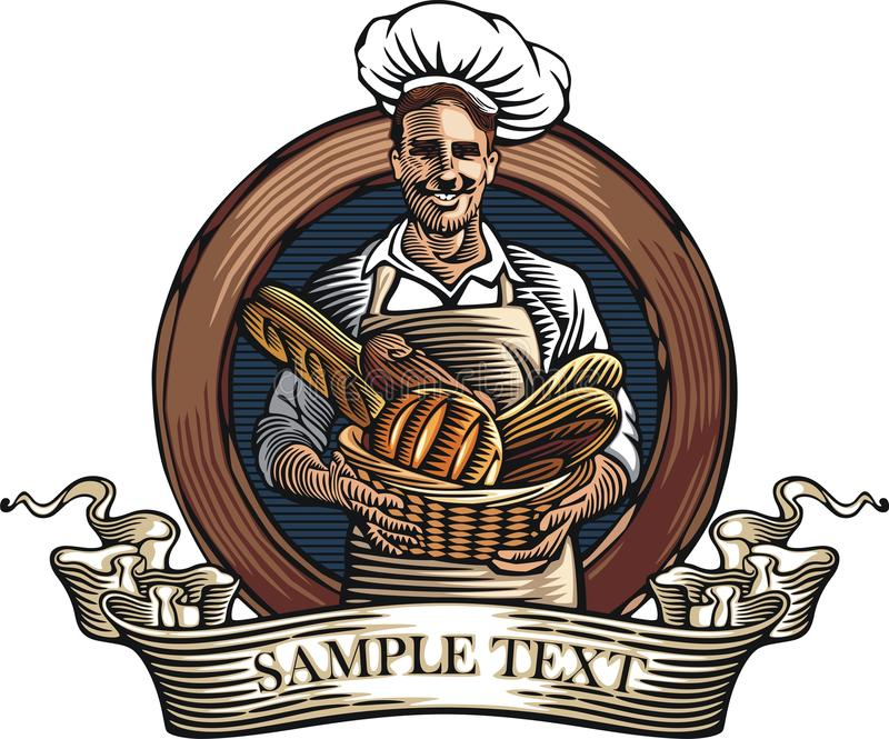 Bagare Vector Illustration i träsnittstil royaltyfri illustrationer