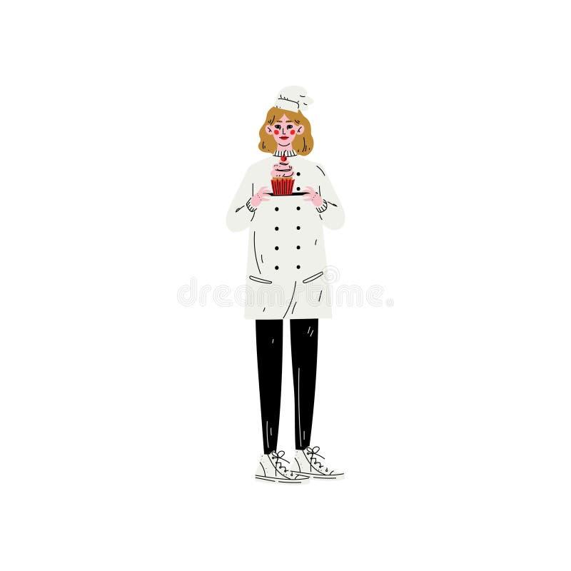 Bagare Woman Character i enhetlig hållande platta med den nytt bakade muffinvektorillustrationen stock illustrationer