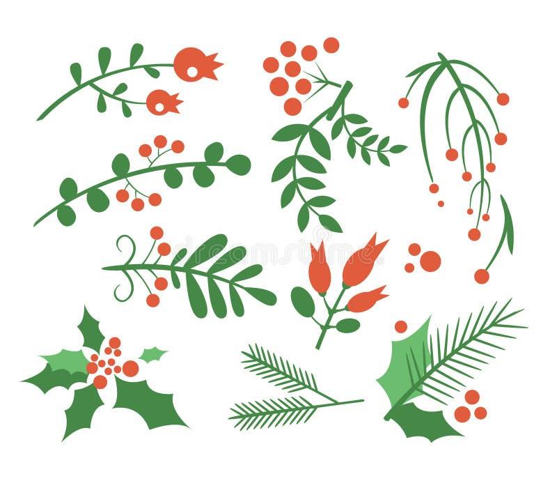 Bagas, abeto dos ramos e folhas vermelhos Vetor ilustração royalty free