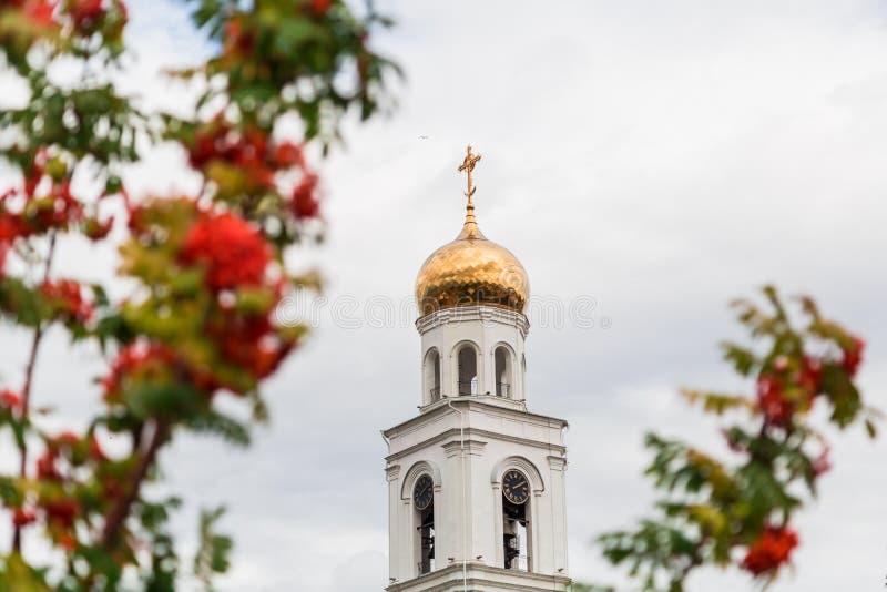 Bagas alaranjadas maduras da árvore de Rowan e da igreja ortodoxa no fundo A cidade do Samara, Rússia O monastério de Iversky foto de stock