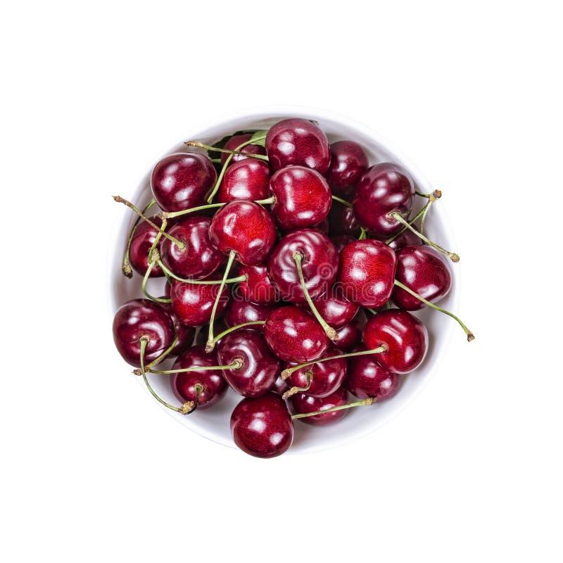 Bagas da cereja, alimento, delicioso, saúde, fundo isolado, branco copie o espaço, disposição de projeto foto de stock royalty free