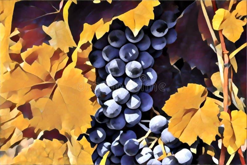 Bagas da uva no arbusto com folhas verdes Ilustra??o abstrata ilustração do vetor