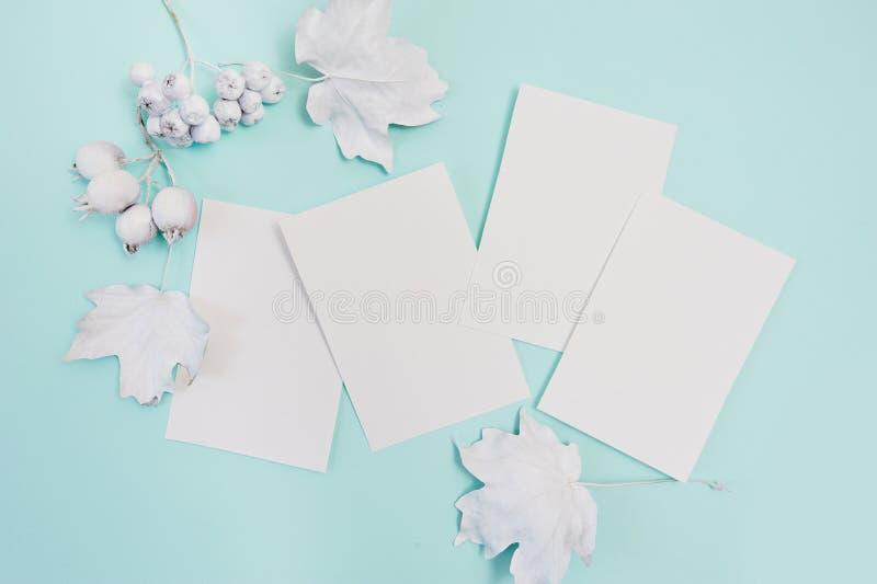 Bagas e folhas com o modelo branco do quadro em um fundo pastel do outono de turquesa com as folhas de papel brancas cumprimento fotografia de stock