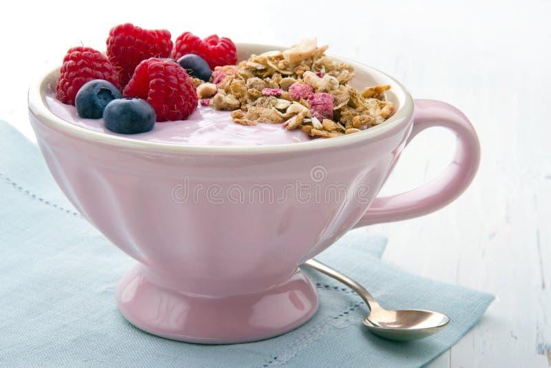 Bagas e iogurte com muesli imagens de stock royalty free