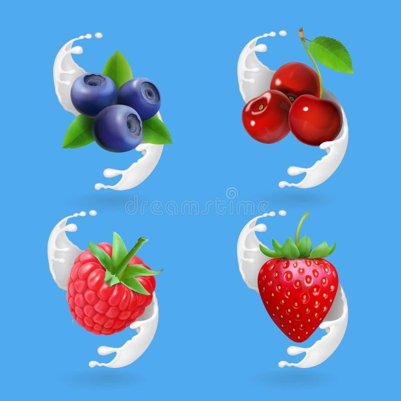 Bagas e iogurte O leite ain da cereja, do mirtilo, da morango e da framboesa espirra a ilustração realística ilustração do vetor