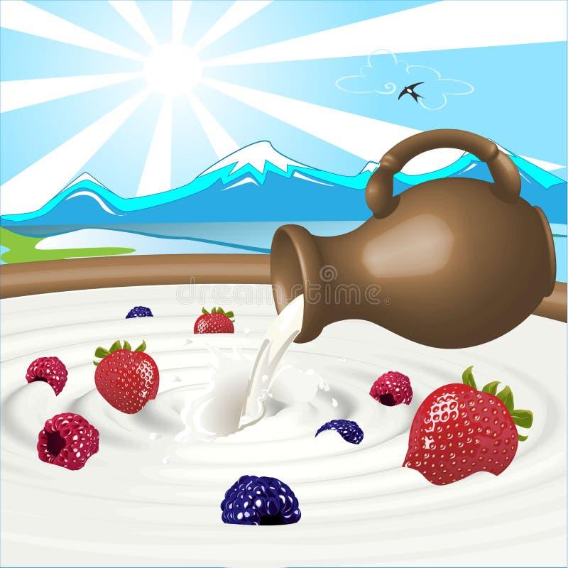 Bagas e leite ilustração do vetor