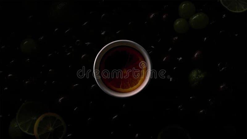 Bagas em gotas da água com cerejas, uvas verdes, fatia alaranjada, cal, fatias do limão foto de stock