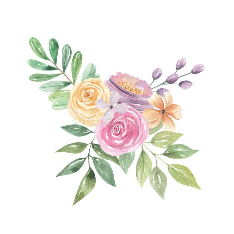 Bagas florais das flores das rosas cor-de-rosa roxas do portal do ramalhete da aquarela ilustração stock