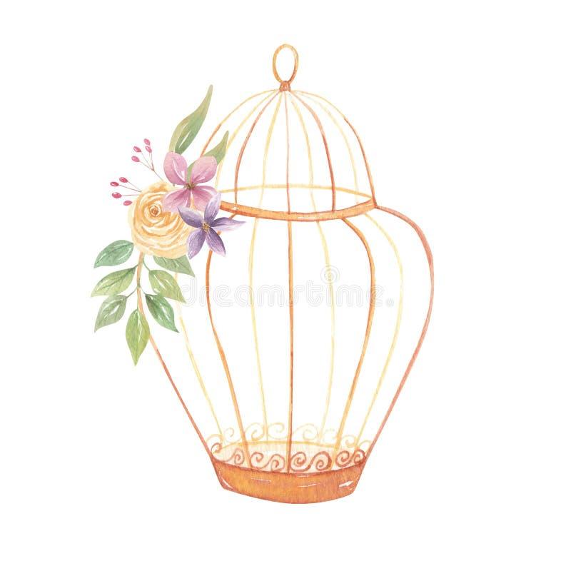 Bagas florais das flores das rosas roxas do ramalhete do Birdcage do ouro da aquarela ilustração stock