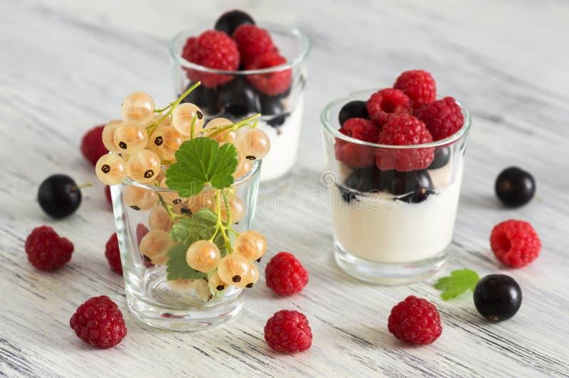 Bagas frescas das framboesas e dos corintos em um vidro com iogurte Foco seletivo fotografia de stock
