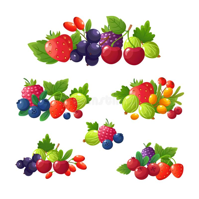 Bagas frescas do verão Morango, amora-preta, mirtilo, cereja, grupo do vetor dos desenhos animados da framboesa ilustração royalty free