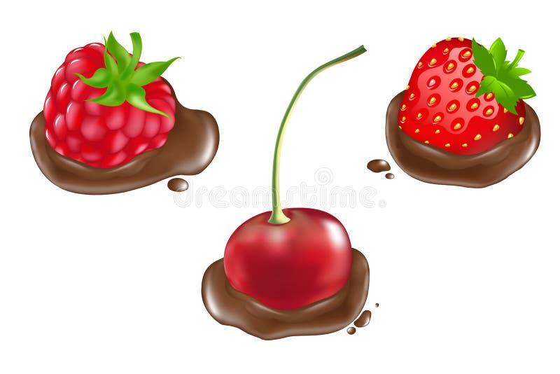 Bagas no chocolate ilustração do vetor