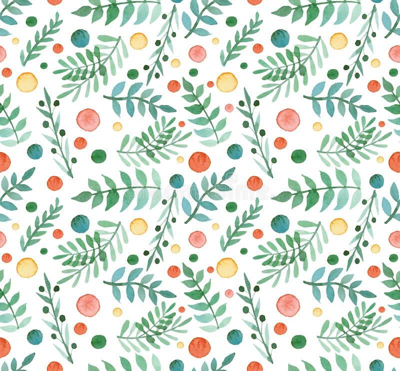 Bagas simples da aquarela, folhas do verde e Dots Repeat Pattern vermelho ilustração stock