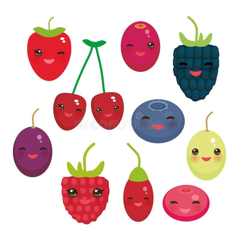 Bagas suculentas frescas da uva de Goji da airela do arando de Kawaii Cherry Strawberry Raspberry Blackberry Blueberry no fundo b ilustração royalty free