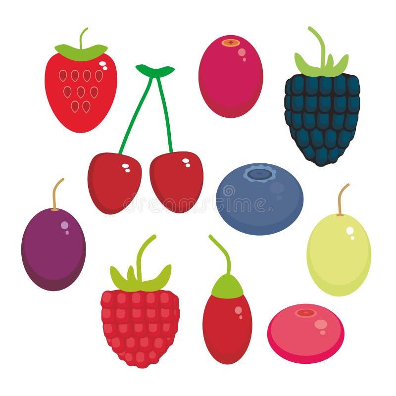 Bagas suculentas frescas do teste padrão sem emenda da uva de Goji da airela do arando de Cherry Strawberry Raspberry Blackberry  ilustração do vetor