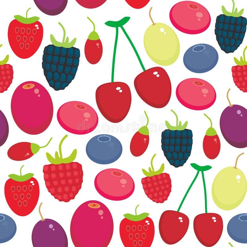 Bagas suculentas frescas do teste padrão sem emenda da uva de Goji da airela do arando de Cherry Strawberry Raspberry Blackberry  ilustração royalty free