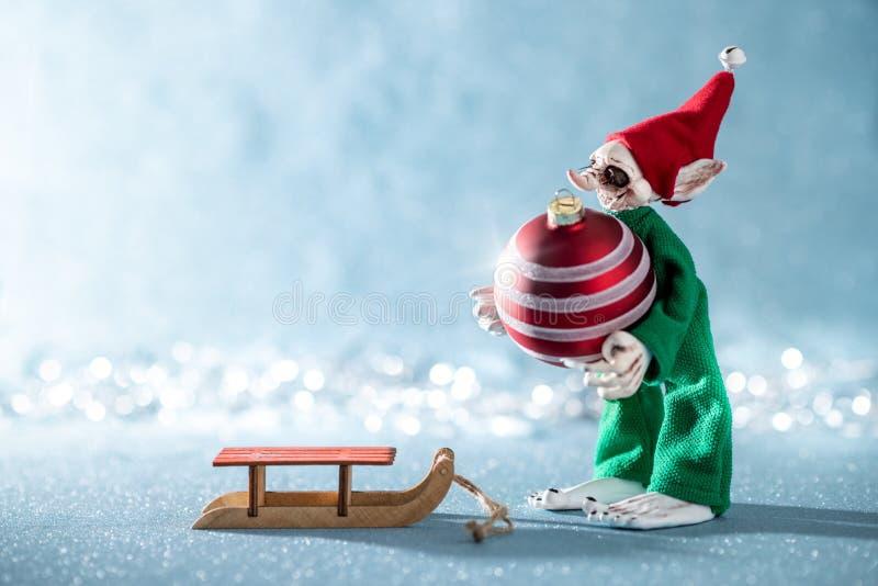 Bagattella allegra sveglia di Natale di caricamento di Elf dell'assistente di Santa su Santa Sleigh Scena di Natale del polo nord fotografie stock