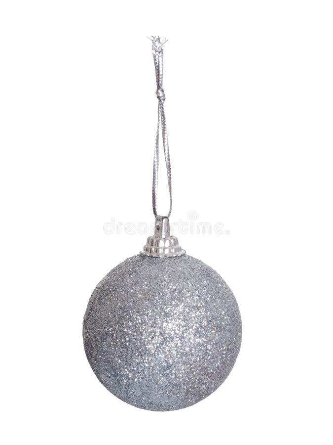 Bagattella d'argento dell'albero di natale bianco isolata su bianco fotografia stock
