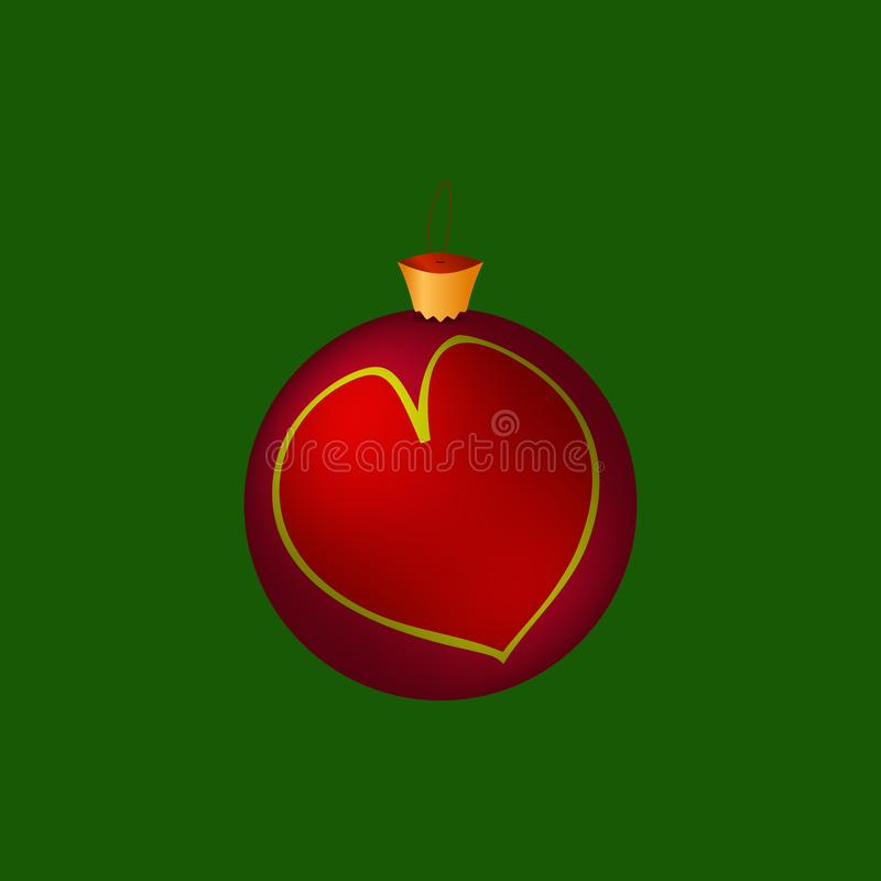 Bagattella dei nuovi anni della palla di Natale con cuore Vettore royalty illustrazione gratis