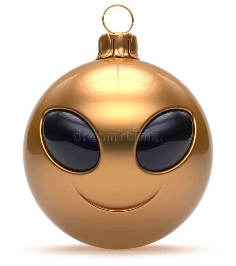 Bagattella straniera sorridente del buon anno della palla di Natale del fronte dorata illustrazione di stock