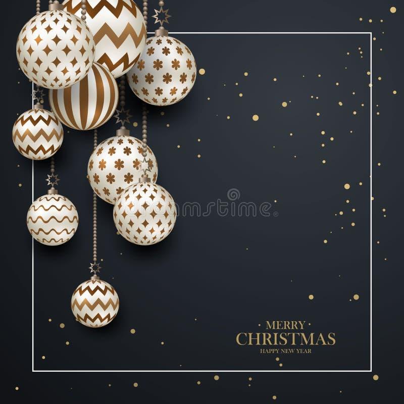 Bagattelle marroni di Natale con il modello geometrico stile realistico 3d con la struttura bianca, fondo astratto di festa illustrazione vettoriale
