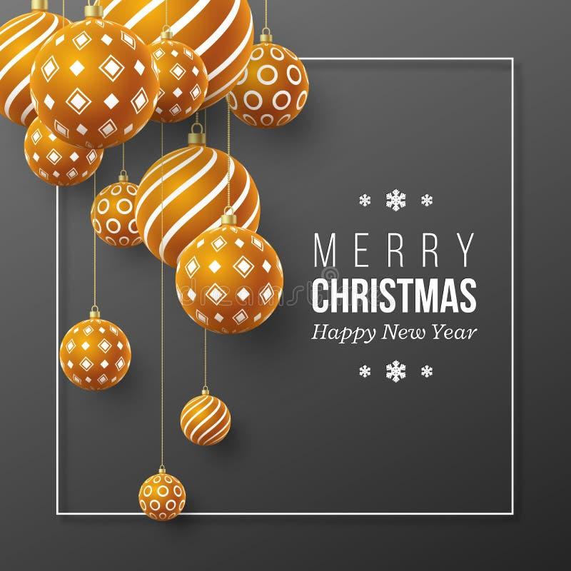 Bagattelle marroni di Natale con il modello geometrico stile realistico 3d con la struttura bianca, fondo astratto di festa, vett illustrazione di stock