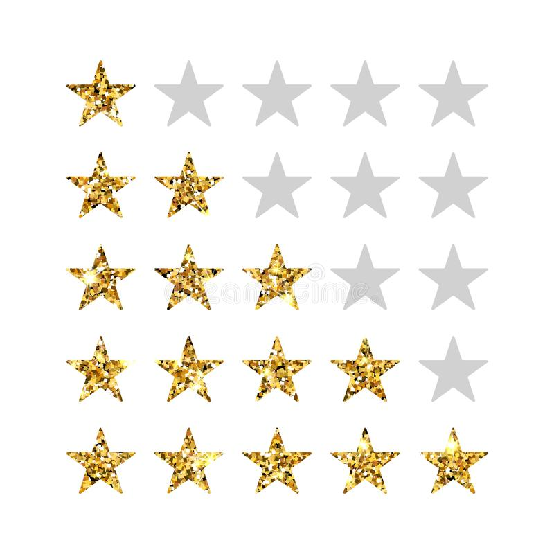 bage aislado grado de cinco estrellas Cinco estrellas en fila ilustración del vector