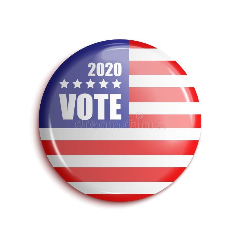 Bage los E.E.U.U. 2020 del voto en fondo transparente Vector stock de ilustración
