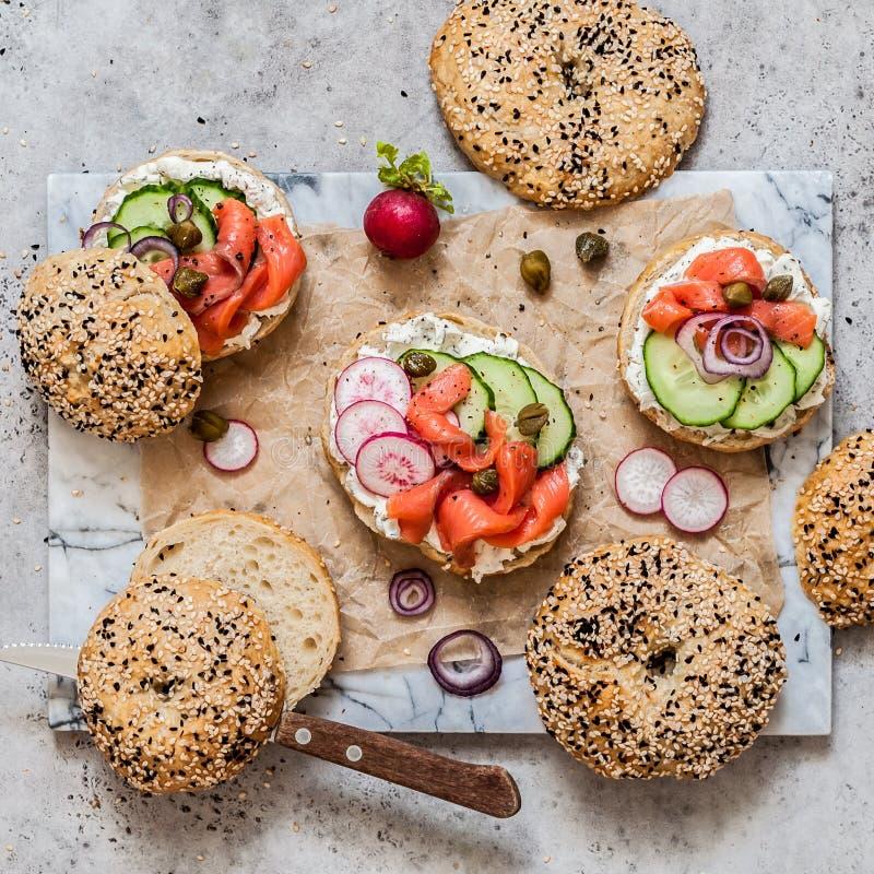 Bagel σολομών σάντουιτς στοκ εικόνα