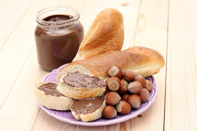 Bagel avec du chocolat photo libre de droits